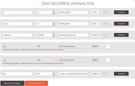 DNS Records netzadresse.at